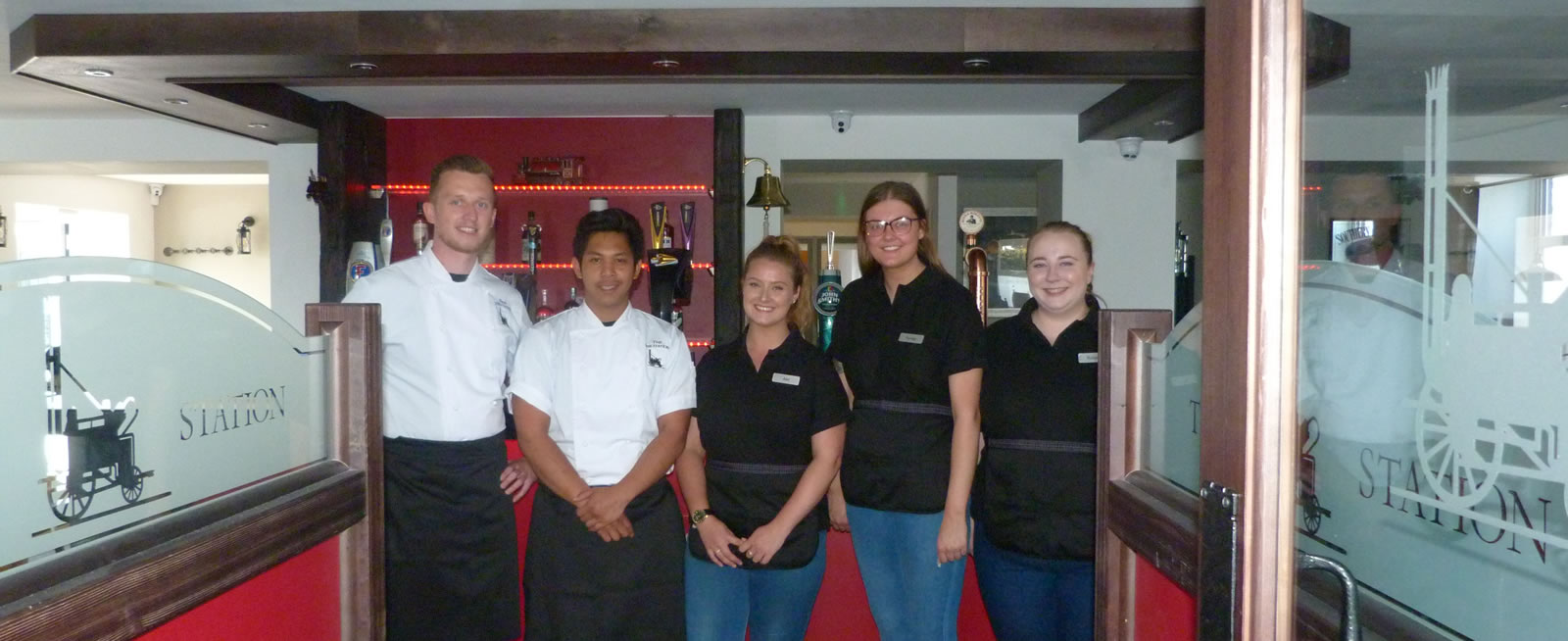 The team at the Station bar in Kirkpatrick Fleming Dumfries and Galloway